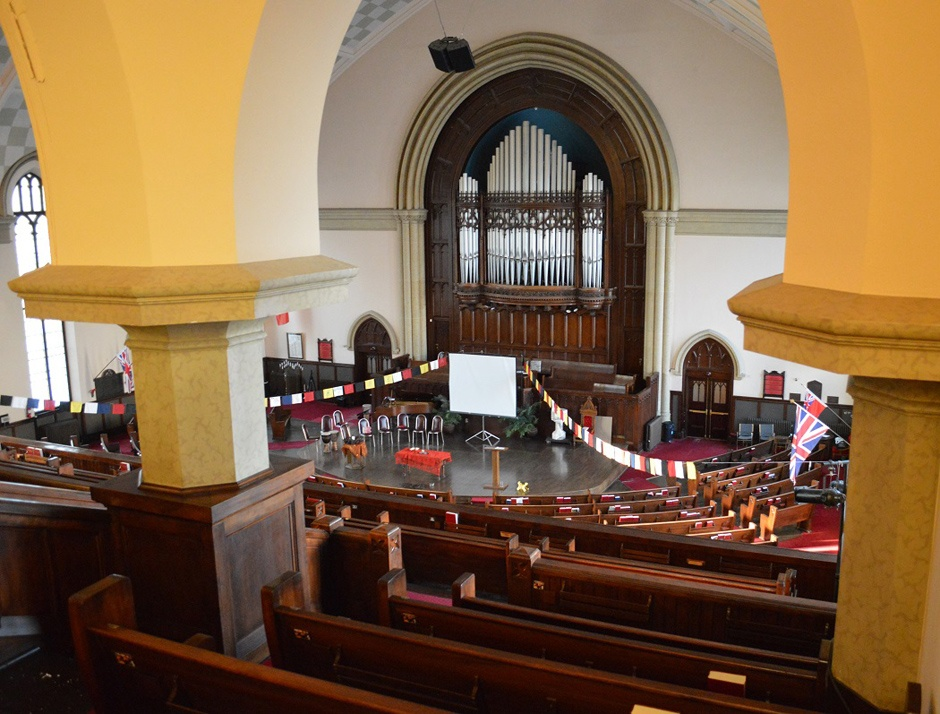 The large thrust stage has no religious symbols and can be configured for a large variety of needs.