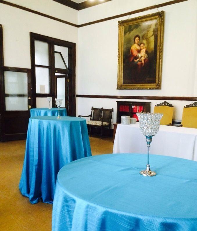 Set up for a reception can accommodate up to 80.