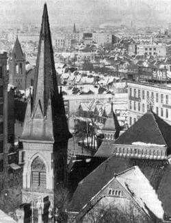 Donald and Ellice looking NW, 1923, church in the foreground Knox Presbyterian Church. Calvary Temple is on the left. Holy Rosary Catholic Church is in the background middle. MB Archives