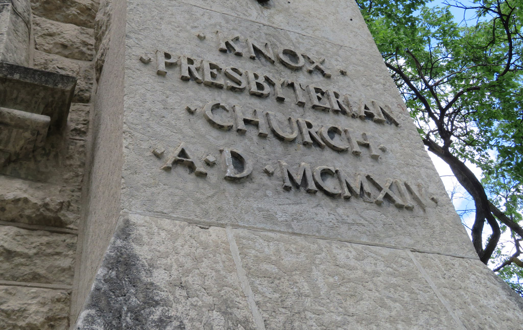 The cornerstone at the base of the southeast tower.