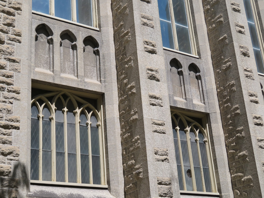 Window and relief details in south face.