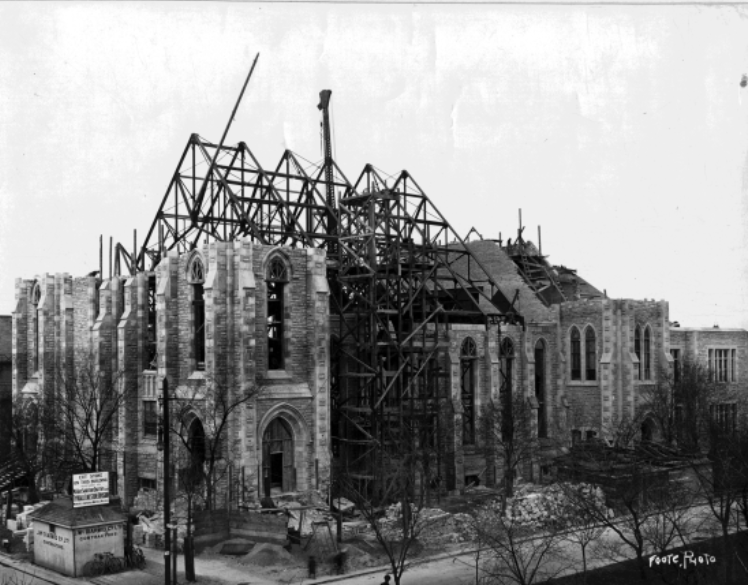 Knox building under construction c 1914, photo by L.B. Foote