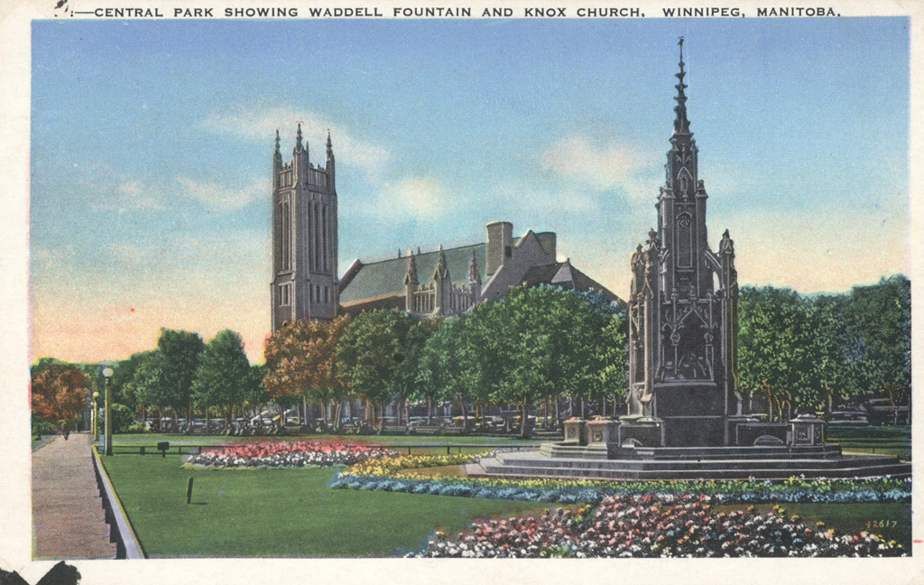 Colourized post card of Knox through Central Park.
