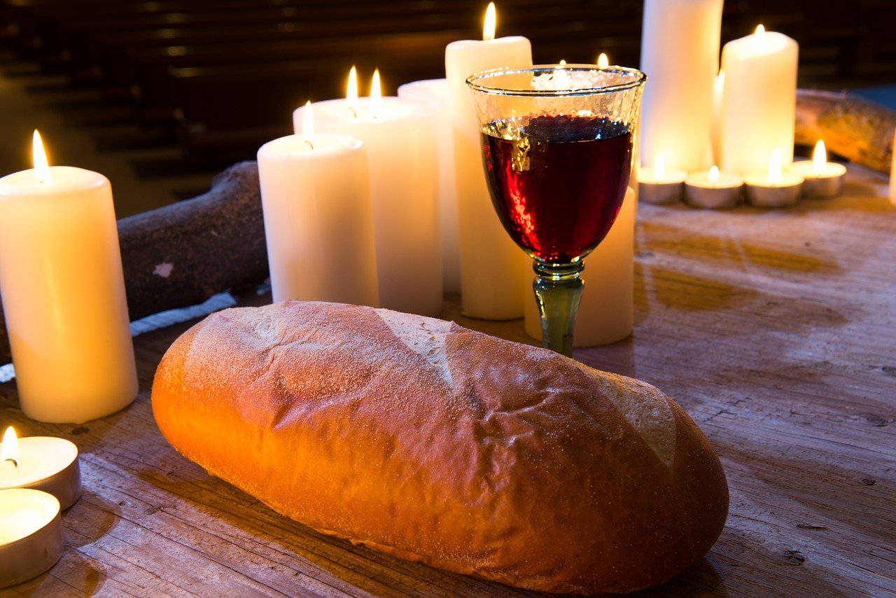 communion, wine, bread